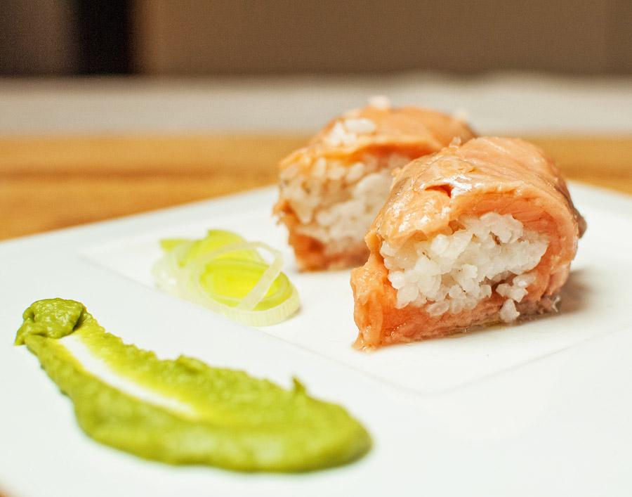 Tocchetti di trota con riso biologico e crema di piselli Chef Roberto Di Mauro